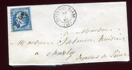Lettre Avec Texte  ( Scan Intérieur Sur Demande) De Montmirail Pour Charly En 1863 - Postmark Collection (Covers)