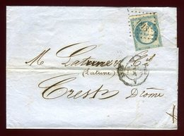 Lettre Avec Texte Commerciale ( Scan Intérieur Sur Demande) De Lyon Pour Crest En 1855 - Postmark Collection (Covers)