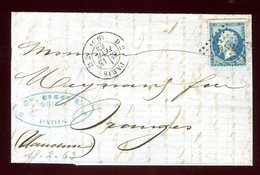 Lettre Avec Texte ( Scan Intérieur Sur Demande) De Paris Pour Orange En 1863 - Postmark Collection (Covers)