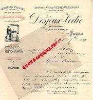 37-- TOURS- FACTURE DESJEUX VEDIE- MATHAGON- ENTREPRENEUR ASPHALTE BITUME- CIMENT-PAVAGE BOIS-30 RUE REMPART-1894 - Petits Métiers