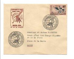 OBLITERATION CHAMPIONNAT DU MONDE DE CANOE KAYAK MACON 1954 - Bolli Commemorativi