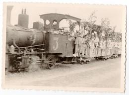 Photo Ancienne ( Singapour , Asie ? ) - Des Voyageurs Dans Un Train à Vapeur - Trains