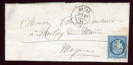 Lettre Avec Texte  ( Scan Intérieur Sur Demande) De Meilay Pour Mayence En 1872 - Marcophilie (Lettres)