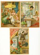 CHROMO EN 3 VOLETS DE 13.5 /10 Cm  PETROLE   L'ORIFLAMME     POUR LAMPE D'ÉCLAIRAGE - Trade Cards