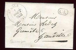 Lettre Avec Texte ( Scan Intérieur Sur Demande) De Quincampoix Pour Gauville En 1852 - Postmark Collection (Covers)