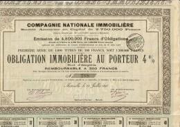 13-IMMOBILIERE. Cie Nationale Immobilière. Obligation De 1898 - Other