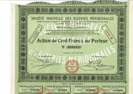 13-RIZERIES MERIDIONALES. Sté Nouvelle Des...1929 Action - Other