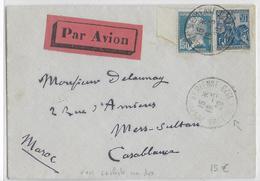 """1929 - ENVELOPPE Par AVION Avec OBLITERATION """"POSTE AERIENNE VINCENNES 1929"""" => CASABLANCA (MAROC) - Marcophilie (Lettres)"""