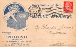 """08273 """"TORINO-DITTA LEONE GIOBERGE - CIOCCOLATO-CONFETTI 1880"""" CART AVVISO DI PASSAGGIO SPED - Italy"""