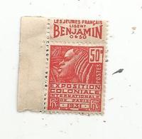 Timbre ,1931 , Exposition Coloniale , Publicité : Les Jeunes Français Lisent BENJAMIN ,non Oblitéré - Advertising