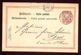 Entier Postal De Colmar Pour Paris En 1886 - Marcofilia (sobres)