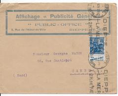 """1929 - TYPE JEANNE D'ARC Avec PUB De CARNET """"LA VACHE QUI RIT"""" Sur ENVELOPPE PUB De DIEPPE (SEINE INFERIEURE) => CAMBRAI - Postmark Collection (Covers)"""