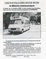 PLAN LIGNE LES PAVILLONS-SOUS-BOIS Navette Municipale  OCTOBRE 1983 - Europe