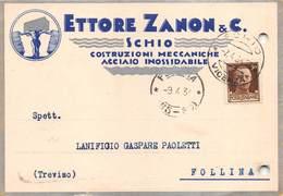 """08277 """"VICENZA-SCHIO - ETTORE ZANON & C. COSTRUZIONI MECCANICHE ACCIAIO INOSSIDABILE"""" DECO. CART COMM SPED 1934 - Non Classificati"""