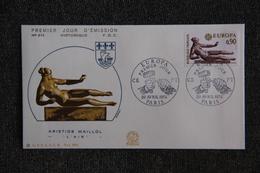 FDC - EUROPA 1974 - Aristide MAILLOL : L'Air . N°874 - PARIS - FDC