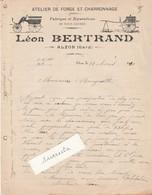 Facture 1910 / Léon BERTRAND / Forge Charronnage / 30 Alzon Gard - Other
