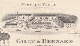 Facture 1915 /  GILLY & BERNARD / Propriétaire / Vins De Table / 30 Calvisson Gard - France