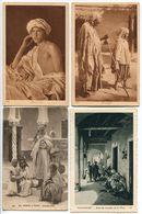 4 Cartes AFN * Jeune Arabe ( Homme ) * L'Aveugle * Intérieur Arabe * Touggourt Sous Les Arcades De La Place (animée) - Algeria
