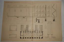 Plan De La Ventilation Et Du Chauffage Du Palais De Justice De La Seine. Dépôt Près De La Préfecture De Police. 1891. - Public Works