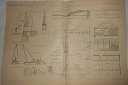 Plan De L'aménagement Et Outlllage Du Nouveau Port De Brème. Allemagne. 1891. - Public Works