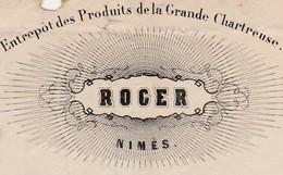 Lettre Facture 1869 / ROGER / Entrepôt Grande Chartreuse / Huile Olive / Vins / Cachet GC Nîmes / 30 Gard - 1800 – 1899