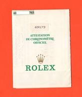 Rolex Garanzia Garantie Ugfficiale Per Modello 63173 Orologio Da Donna Del 1988 - Orologi Da Polso