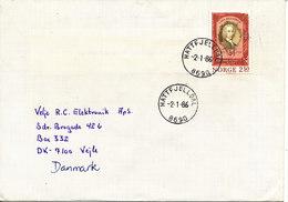 Norway Cover Sent To Denmark Hattfjelldal 2-1-1986 Single Franked - Norvège