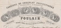 Lettre Facture 1869 / Chocolat/ Thé Vanille/ POULAIN / 41 Blois Usine La Villette / Rue Neuve Des Petis Champs 75 Paris - 1800 – 1899