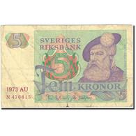 Billet, Suède, 5 Kronor, 1963-1976, 1973, KM:51c, TB - Suède