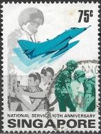SINGAPORE 1977 Tenth Anniv Of National Service - 75c - Soldiers, Wireless Operators, Pilot And Douglas A-4 Skyhawk  FU - Singapour (1959-...)