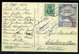 Deutsches Reich, Flugpost Gotha Nr. 5 Mit Germania Zusatzfrankatur, Karte Mit Pilotenbild - Gebraucht