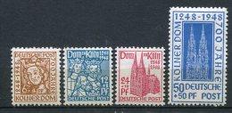 8142  ALLEMAGNE BIZONE  N°37/40 * 7é Centenaire De La Cathédrale De Cologne   1948   TTB - Zone Anglo-Américaine