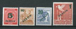 8157  ALLEMAGNE Berlin  N°47/50 * Timbres Des Zones A.A.S De 1946-47 Surchargés   1949    TB/TTB - [5] Berlin
