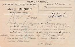 Petite Facture Marc MUNIER / Plâtrerie / 88 Mirecourt Vosges - Other