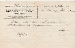 Petite Facture 1922 / LECOMTE HUOT / Graineterie / 88 Mirecourt Vosges - Other