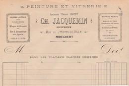 Partie Haute De Facture /  Ch. JACQUEMIN / Peinture Vitrerie / 88 Mirecourt Vosges - Other