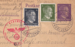 Entier Postal + Complément Courrier STO Ingolstadt 07.04.1943-> Vosges - Zensur/censored/Censure  Sans E  !! - Allemagne