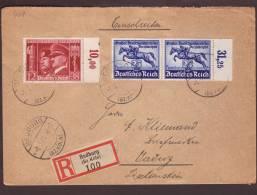 Einschreibe Brief 100 Bedburg .01.03.1941  - Hitler/Mussolini+ Pferde -> Vaduz  - Zensur/Censored/Censure E - Allemagne