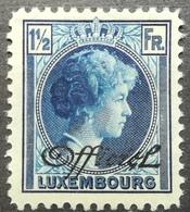Luxembourg 1928 MLH Officials Grand Duchess Charlotte 1.1/2 Francs Overprint OFFICIEL With Gum - Officials