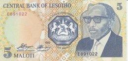 Lesotho  P-10  5 Maloti   1989  UNC - Lesoto