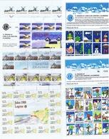 Denmark; Lions Club.  Local Christmas Seals; Løgstør;  1985 - 1991; 7 Full Sheets.  MNH (**) Not Folded - Rotary, Lions Club
