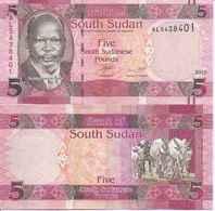 South Sudan  P-11  5 Pounds   2015  UNC - South Sudan