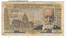 Billet 500 Francs Victor Hugo 4-3-54 S Bon état - 1871-1952 Anciens Francs Circulés Au XXème