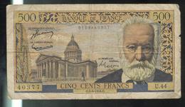 Billet 500 Francs Victor Hugo 2-9-54 O Bon état - 1871-1952 Anciens Francs Circulés Au XXème