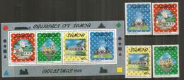Les  Eglises Des îles SAMOA  Bloc-feuillet + Série 4 Timbres Neufs **  Côte € 10,00 - Samoa