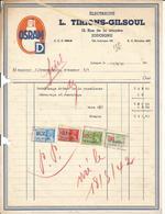 Facture Electricité L TIRIONS GILSOUL Rue De La Bruyère  1942 Vers Brasserie J Coenen Bury  Rebobinage Capsuleuse - Belgium