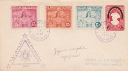 1943 Philippines Embossed Uprated FDC Postal Cover Under Japanese Occupation Imperf Issue Manila Local Use - Philippines