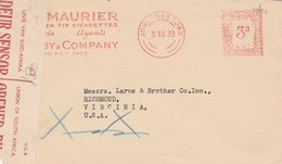 1939 South Africa Censored Advertising Meter Stamped Cover DuMaurier Cigarettes Johannesburg To Richmond VA USSA - Stamps