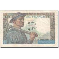 France, 10 Francs, 10 F 1941-1949 ''Mineur'', 1941, 1944-01-20, TTB+, KM:99c - 1871-1952 Circulated During XXth