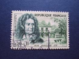 """1960  -timbre Oblitéré N° 1259    -""""  BOILEAU    """"       Cote   3           Net    1 - France"""